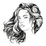 Красивой эскиз иллюстрации вектора стороны женщины нарисованный рукой Стоковая Фотография RF