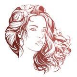 Красивой эскиз иллюстрации вектора стороны женщины нарисованный рукой Стоковое фото RF
