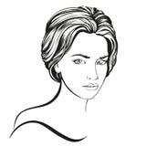 Красивой эскиз иллюстрации вектора стороны женщины нарисованный рукой Стоковые Изображения RF