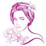 Красивой эскиз иллюстрации вектора стороны женщины нарисованный рукой Стоковое Фото