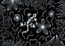 手图画例证 在草和花的蜥蜴 免版税库存照片