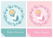 Мальчики и девушки карточки детского душа Стоковые Изображения