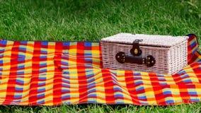 男孩正餐草食用少许草甸中午野餐薄饼二 野餐篮子 免版税库存图片