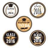 导航毕业事件、党、高中或者大学毕业生的徽章 汇集装饰标记可印 免版税库存照片