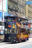 Трамвай палубы двойника Гонконга, остров Гонконга Стоковое фото RF