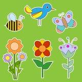 Χαριτωμένη συλλογή λουλουδιών, πουλιών και εντόμων Στοκ φωτογραφία με δικαίωμα ελεύθερης χρήσης