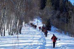 背包徒步旅行者组山冬天 免版税图库摄影