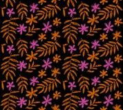 Декоративный стилизованный простой тропический цветочный узор Стоковая Фотография RF