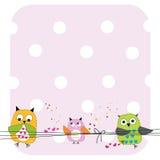 逗人喜爱的猫头鹰家庭婴儿送礼会贺卡传染媒介 免版税库存照片