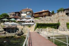 旅馆和小酒馆在索佐波尔,保加利亚老镇  库存图片