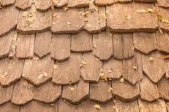 在屋顶的木木瓦 图库摄影
