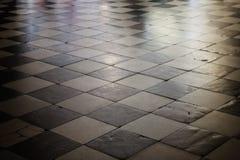 老方格的大理石地板纹理 库存照片