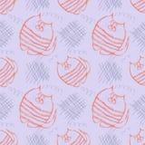 模式无缝的向量 与手拉的猫和杂文的逗人喜爱的蓝色和红色背景 免版税图库摄影