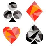 Διανυσματικό σύνολο συμβόλων καρτών παιχνιδιού Μαύρα και κόκκινα εικονίδια που απομονώνονται στα υπόβαθρα Στοκ εικόνες με δικαίωμα ελεύθερης χρήσης