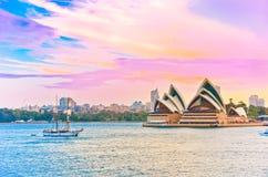 黄昏港口悉尼 免版税库存照片
