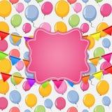 生日快乐与气球传染媒介例证的卡片模板 库存照片