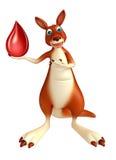 乐趣袋鼠与血液下落的漫画人物 免版税图库摄影