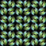 与绿色和蓝色抽象样式的无缝的传染媒介背景在金属羽毛形状 在黑色的不同的梯度装饰品 库存图片