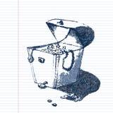 画艺术性的铅笔剪影的老海盗宝物箱手 在杂文样式的例证在练习本 免版税库存照片