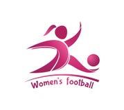 Логотип футбола женщин (футбола) лавр граници покидает вектор шаблона тесемок дуба Стоковое фото RF