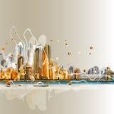Красочный силуэт панорамы города Стоковое Фото