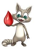 与血液下落的逗人喜爱的浣熊漫画人物 免版税库存图片