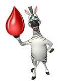 斑马与血液下落的漫画人物 免版税库存照片
