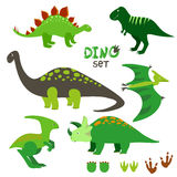 Милые установленные динозавры Собрание динозавров шаржа Стоковые Изображения RF
