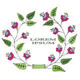 Πλαίσιο με το φωτεινό αφηρημένο ρόδινο και μπλε χρώμα λουλουδιών Στοκ Εικόνες
