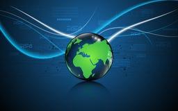 Αφηρημένη σφαίρα με το πράσινο παγκόσμιων χαρτών υπόβαθρο σχεδίου τεχνολογίας καινοτόμο Στοκ Εικόνες