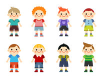 Ευτυχές σύνολο συλλογής μικρών παιδιών η ανασκόπηση απομόνωσε το λευκό Στοκ εικόνα με δικαίωμα ελεύθερης χρήσης