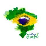 Символ, плакат, знамя Бразилия Карта Бразилии с украшением национального флага Стоковое Изображение RF