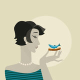 有海鲜快餐画象的妇女 免版税库存照片