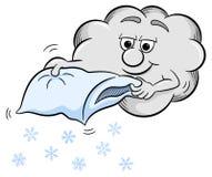 Σύννεφο χιονιού που τινάζει ένα μαξιλάρι Στοκ Φωτογραφίες
