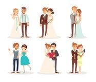 逗人喜爱的婚礼夫妇新娘和新郎动画片 图库摄影