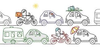 夏天交通堵塞的动画片人 免版税图库摄影