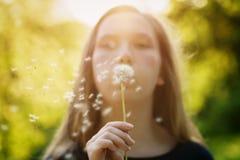 Φυσώντας πικραλίδα κοριτσιών εφήβων στη κάμερα Στοκ φωτογραφίες με δικαίωμα ελεύθερης χρήσης