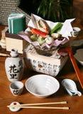 日本格式餐馆表 免版税库存照片