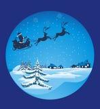 飞行圣诞老人爬犁 免版税库存图片