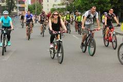 Παρέλαση ποδηλάτων στην πόλη Στοκ εικόνες με δικαίωμα ελεύθερης χρήσης