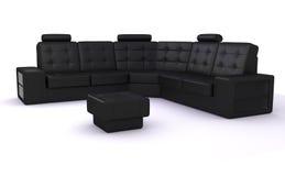 μαύρος καναπές Στοκ φωτογραφία με δικαίωμα ελεύθερης χρήσης
