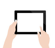 使用数字式片剂技术黑屏显示的妇女手在白色背景传染媒介设计 免版税库存图片