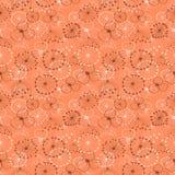 花卉模式无缝的向量墙纸 用不同的花的红色手拉的背景 免版税图库摄影