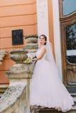 典雅的白色礼服的美丽的新娘有摆在台阶浪漫葡萄酒的长尾巴的修造在栏杆的支附近 库存照片