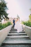 在台阶的美好的年轻婚礼夫妇在公园 背景的浪漫古色古香的宫殿 库存图片