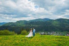 婚姻在山,在爱,山背景,站立的被围拢的蒲公英的一对夫妇,在有绿草的草坪中, 免版税库存照片