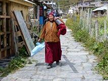 妇女运载马桶 免版税图库摄影