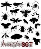 各种各样的昆虫剪影  免版税库存照片