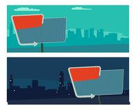 与箭头的夜标志 在减速火箭的样式的广告牌与光 导航在城市夜和早晨背景的平的例证 为 免版税库存图片