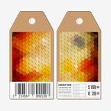传染媒介标记在双方,纸板与条形码的销售标签设计 多角形设计,几何六角背景 库存照片